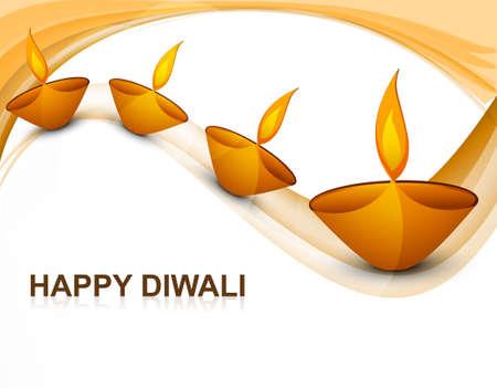 Beautiful colorful religious decoration Diwali diya celebration wave background Vector