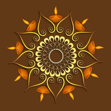 Celebration colorful decoration Diwali diya background vector