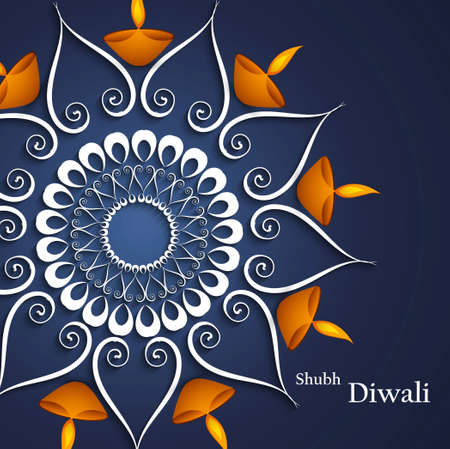 Beautiful decoration blue colorful background Diwali diya celebration vector