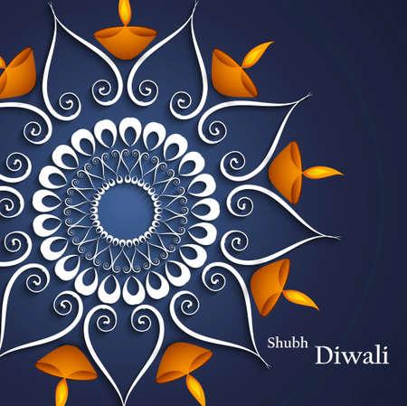 Beautiful decoration blue colorful background Diwali diya celebration vector  Vector