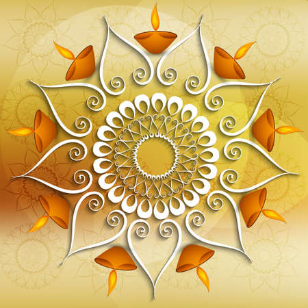 Colorful decoration Diwali diya celebration background Vector