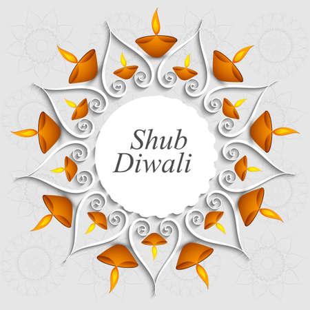 Beautiful decoration Diwali diya celebration vector background