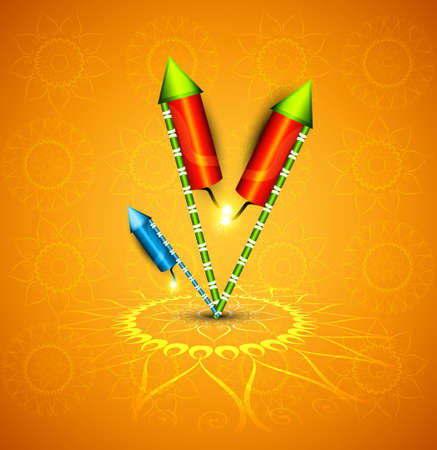 Beautiful glowing festival cracker on artistic design vector Illustration
