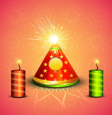 Beautiful celebration stylish shiny diwali crackers festival vector illustration  Vector
