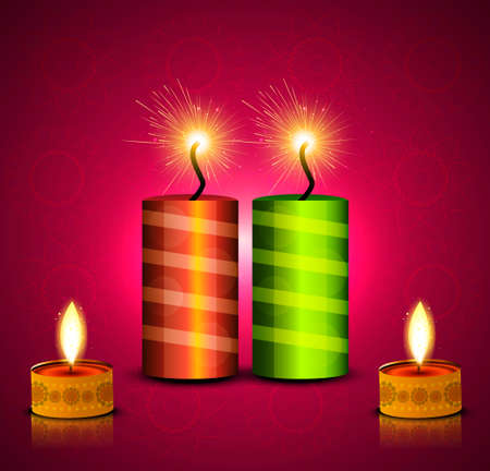 vector celebration diwali festival crackers bright colorful background Vector