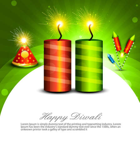 Beautiful decoration Happy Diwali diya shiny crackers colorful background Vector