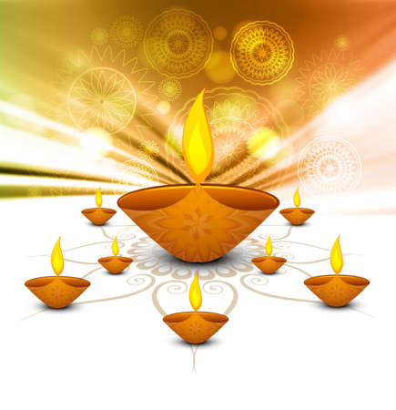Diwali diya Celebration colorful decoration background vector Vector