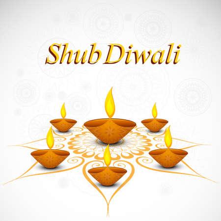Celebration decoration Diwali diya rangoli beautiful vector  Illustration