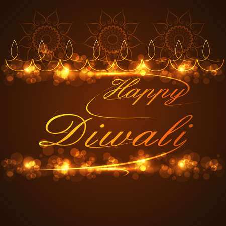 Beautiful text Happy Diwali for festival celebration background vector