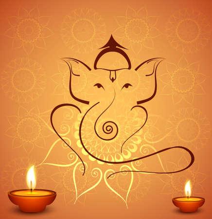 ganesh: Красивая праздник Дивали индуистской Господь Ганеша фестиваль красочный фон