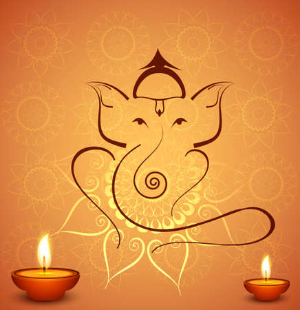 Beautiful diwali celebration Hindu Lord Ganesha festival colorful background Vector