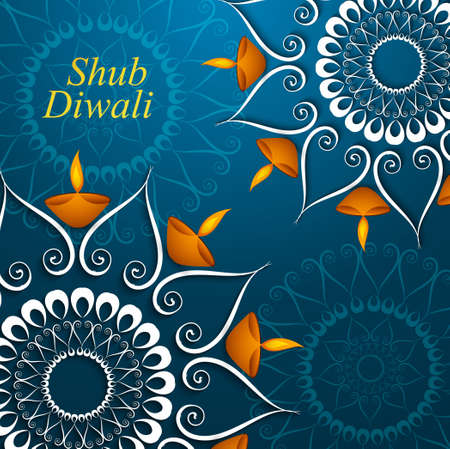 Celebration colorful decoration Diwali diya beautiful vector design Vector