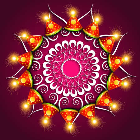 vector beautiful diwali festival cracker colorful fantastic background Vector