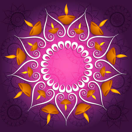 Colorful decoration Diwali diya celebration fantastic glowing vector background Illustration