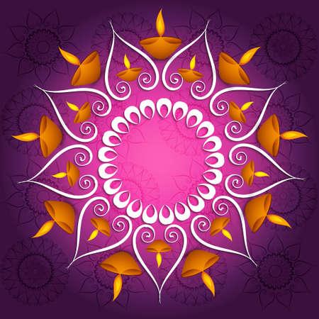 Kleurrijke decoratie Diwali diya viering fantastische gloeiende vector achtergrond