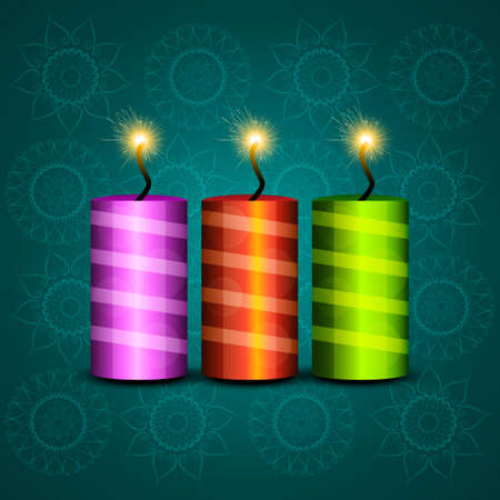 Beautiful celebration colorful diwali crackers festival background vector Vector
