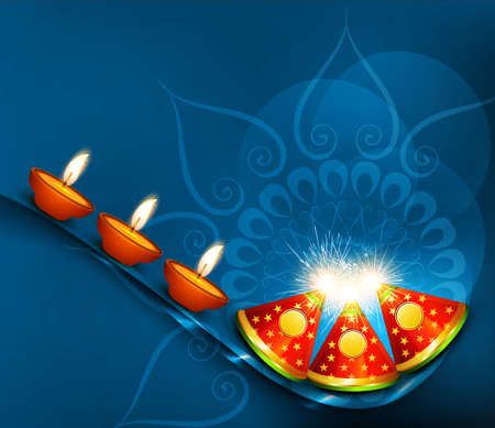 Beautiful vector happy diwali crackers colorful celebration background