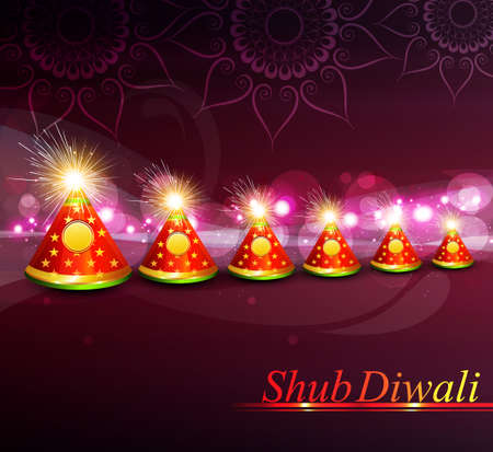 vector decoration colorful indian festival diwali crackers background Vector