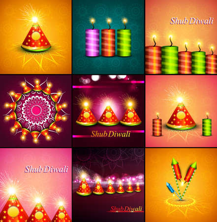 Beautiful decoration Happy Diwali diya shiny festival crackers collection background vector Illustration