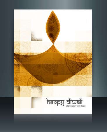 diwali celebration: Beautiful template Brochure diwali celebration reflection vector design