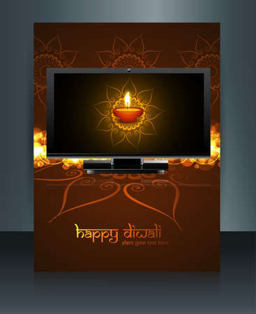Beautiful celebration happy diwali led tv screen festival brochure template reflection vector Vector