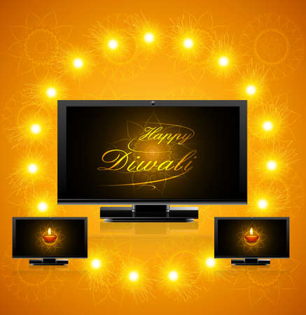 Led tv screen beautiful happy diwali celebration reflection vector illustration Vector
