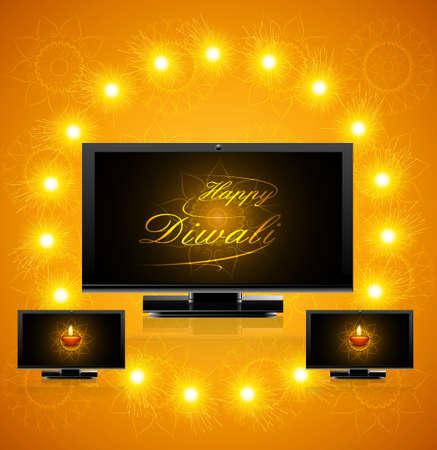 diwali celebration: Led tv screen beautiful happy diwali celebration reflection vector illustration Illustration