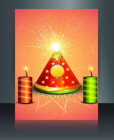 Vector Brochure diwali colorful celebration reflection template  Vector