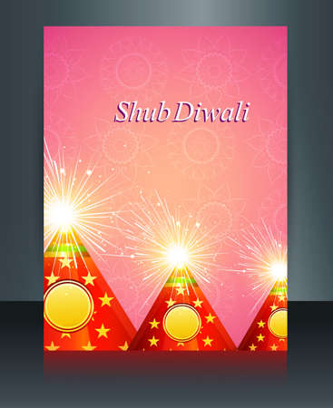 Brochure Beautiful decoration Happy Diwali crackers reflection template vector Vector