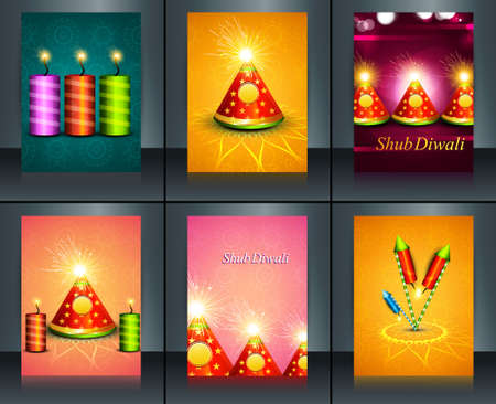 Beautiful decoration Happy Diwali diya festival crackers brochure collection template background vector Stock Vector - 23214038