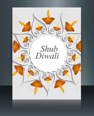 Brochure Happy diwali background beautiful celebration template vector  Vector