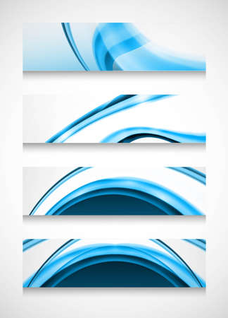 Headers four different colorful blue wave design Vector
