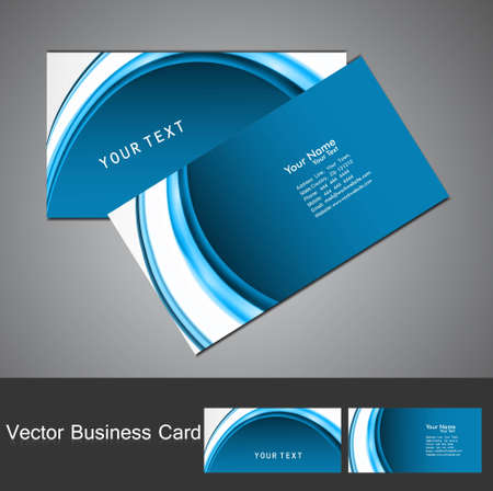 Professional business card template blue wave visiting card set illustration Vector