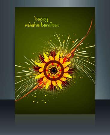 tied girl: Reflection template Brochure festival Celebration Raksha Bandhan green colorful
