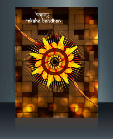 Raksha Bandhan festival  reflection colorful template brochure design Vector