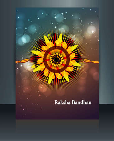 Raksha Bandhan festival brochure colorful shiny template illustration Vector
