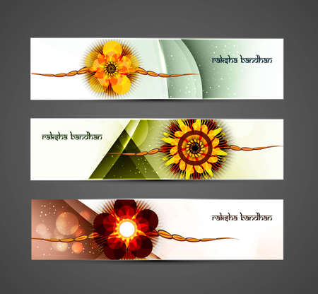 raksha: Celebration colorful Raksha Bandhan three headers  Illustration