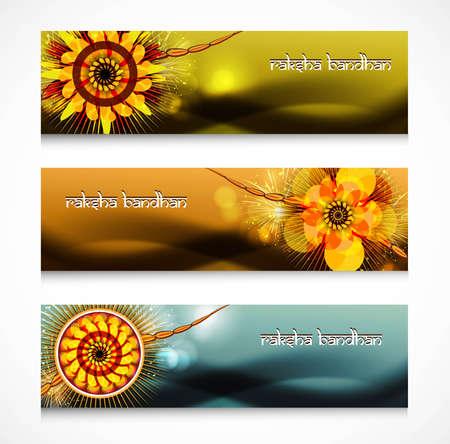Shiny headers or banners Raksha Bandhan celebration colorful design Stock Vector - 23519819