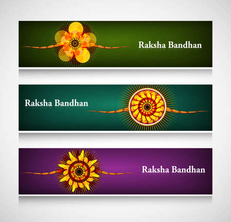 raksha: Raksha Bandhan celebration bright colorful headers or banners  Illustration