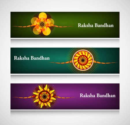 Raksha Bandhan celebration bright colorful headers or banners Stock Vector - 23519828