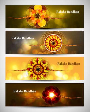 bahan: Raksha Bandhan celebration colorful four headers or banners illustration