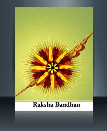 Template brochure colorful celebration Raksha Bandhan festival  Vector