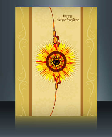 raksha: Raksha Bandhan festival  card colorful shiny  brochure reflection template