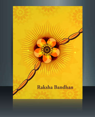 Raksha Bandhan festival reflection brochure colorful  Vector
