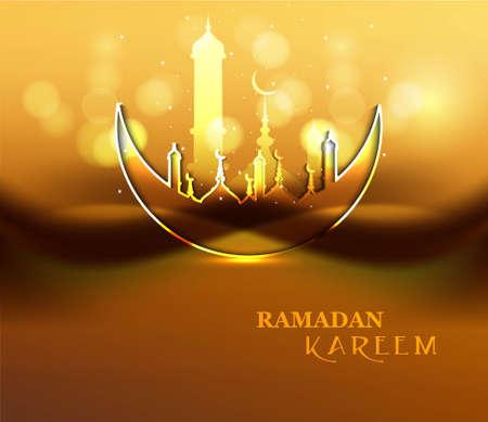 Ramadan Kareem庆祝宗教清真寺和月亮明亮多彩设计