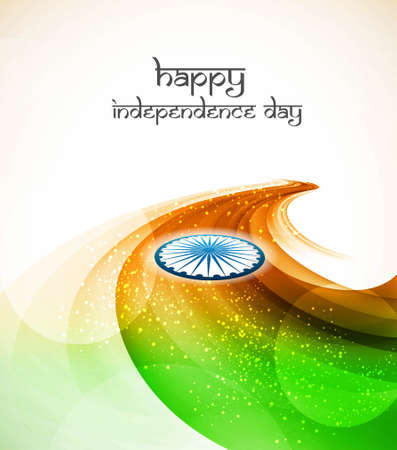 Beautiful swirl wave Indian flag tricolor illustration Vector