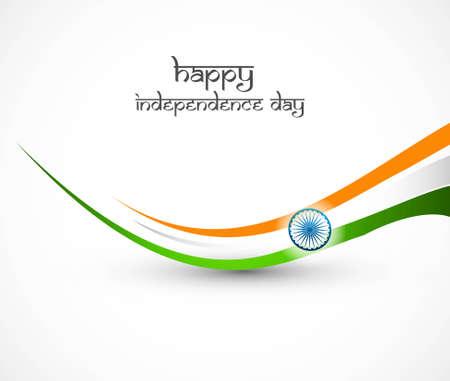 januar: Indische Flagge stylish wave Illustration f�r Independence Day Hintergrund Illustration