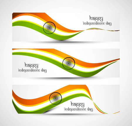 Indian flag colorful wave set of headers  Vector