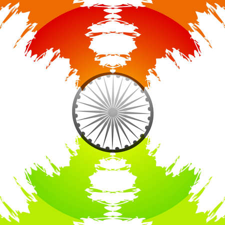 stylish indian flag tricolor grunge wave  Vector