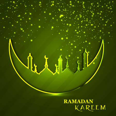 Celebration Ramadan Kareem religious mosque and moon green colorful background Vector